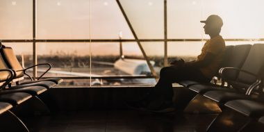Person in airport waiting lounge